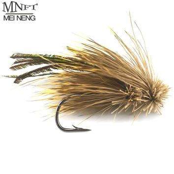 MNFT 10PCS 4#/6# Brown Grass Hopper Terrestrial Dry Fly Trout Bass Perch Fly Fishing Flies Peacock feather Lure