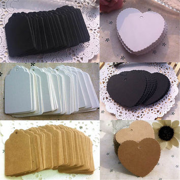100pcs Paper Christmas Wedding Party Gift Card Label Blank Luggage Tags Heart Rectangle DIY Kraft Paper Tags