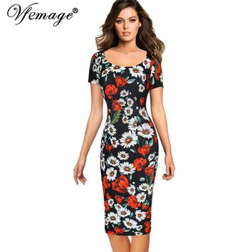 Vfemage Womens Summer Elegant Floral Printed Vintage Pinup Short Sleeve Casual Wear To Work Party Bodycon Sheath Dress 4768