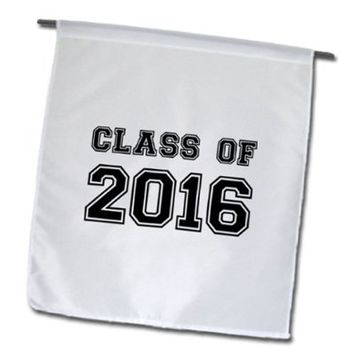 InspirationzStore Typography - Class of 2016 - Graduation gift - graduate graduating high school university or college grad black - 18 x 27 inch Garden Flag (fl_162667_2)