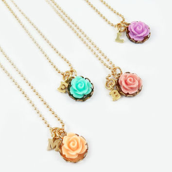 Personalized Necklace Initial Necklace Flower Necklace Bridesmaid Gift Flower Jewelry Monogram Necklace Spring Wedding Mothers Day Gift