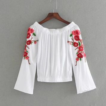 Summer new fashion sexy lace collar embroidered long-sleeved T-shirt female