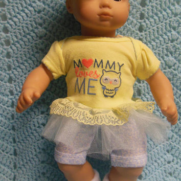"AMERICAN GIRL Bitty Baby Clothes ""Owl Babies"" (15 inch) doll outfit  dress shorts booties socks headband owls yellow blue"