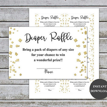 Diaper Raffle Ticket Cards Printable Baby Shower Games Diaper Raffle Insert for Neutral Gold Baby Shower invitations Instant Download (v35)