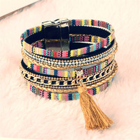 ~ Boho Fashion Multilayer Rhinestone Leather Tassel Bracelets & Bangles ~