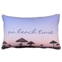 """On Beach Time"" California Palapa Sunset Photo Lumbar Pillow"