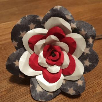 Patriotic America Red White and Blue Flower Rose USA