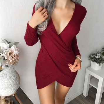 Sexy Women V Neck Long Sleeve Solid Dress Ladeis Bodycon Party Dresses Army green Black Navy Burgundy 4 Colors robe moulant 10