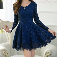Long Sleeves Chiffon Cocktail Dresses 2017 Scoop Sequins Applique Lace A-Line Mini Prom Dresses Dark Blue Short Party Dresses