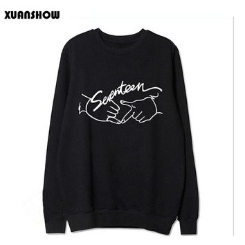 2017 Autumn New Arrival Kpop Seventeen Printing O neck Sweatshirt for Fans Fashion Pullover Hoodies