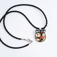 Vintage Swallow Tattoo Sailor Jerry Rockabilly Round Pendant Black and Red