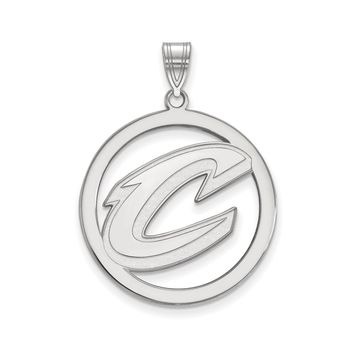 NBA Cleveland Cavs Rhodium Plated Sterling Silver Round Pendant, 25mm