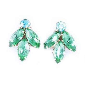 Vintage Lime & Turquoise Rhinestone Clip-On Earrings 1950'S