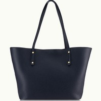 GiGi New York Taylor Tote Navy Pebble Grain Leather