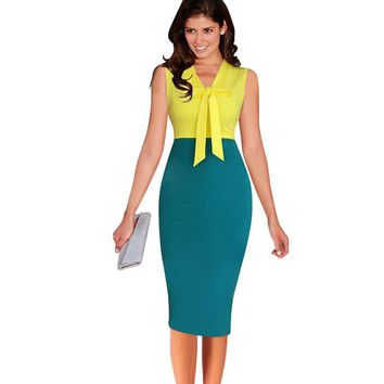 Oxiuly New Women Vintage Patchwork Stretchy Sheath Bow Slimming Party Dress Vintage Knee-Length Dress
