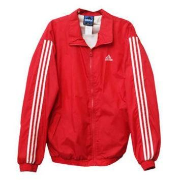 ONETOW Vintage 90s Adidas Brand Red White Striped Zipper Windbreaker Jacket | Adult Size Extr