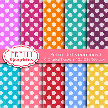 DIGITAL PAPERS - Polka Dot Variations 1 - Commercial Use - 12x12 JPG Files - Scrapbook Papers - High Quality 300 dpi