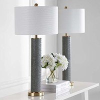 Safavieh Lighting Collection Ollie Grey Faux Alligator 31.5-inch Table Lamp (Set of 2)