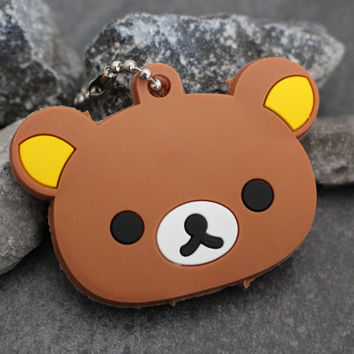 Rilakkuma Key Cover, Bear Key Topper, Sanrio Key Cap, Kawaii Keyfob, Cute Key Chain, Keycover, Keycap, Keychain, Purse Charm, Key Organizer