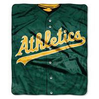 "Oakland Athletics 50""x60"" Royal Plush Raschel Throw Blanket - Jersey Design"