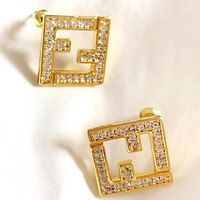 Free shipping-Fendi simple inlaid zircon double F letter earrings