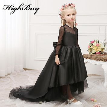 HighBuy 2017 Black Full Long Sleeve High Low Sheer Neck  Flower Girl Dress Train Communion Girls Dresses  Birthday Party Gowns