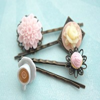 cupcake, flowers and tea filigree hair pins