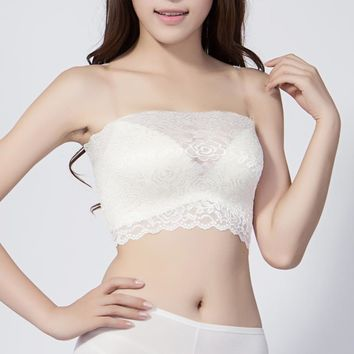 Deruilady Summer Women Tube Top Lace Ultra-thin Floral Laec Tops Strapless Solid Crop Top Breathable Cozy Bandeau Tube Tops