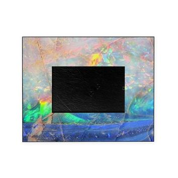 OPAL GEMSTONE IRIDESCENT MINERAL BLI PICTURE FRAME