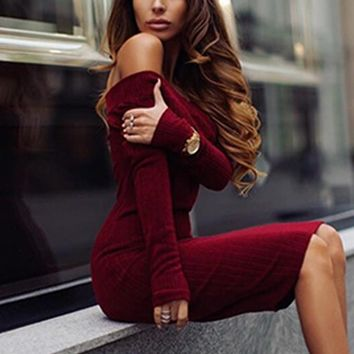 boat neck strapless Bodycon Package hip Knitwear Maxi Dress