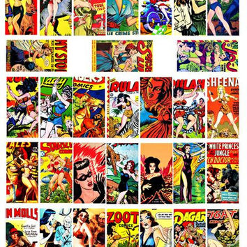 "domino collage sheet pinup bad girls wicked women comics art clipart digital download 1"" x 2"" inch domino vintage images diy printables"