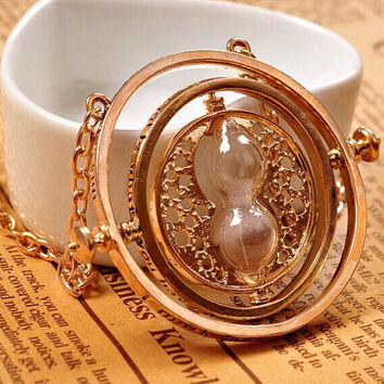 Harry potter necklace time turner golden spins harrypotter chain Time Turner Hermione Granger Hourglass Pendant Jewelry