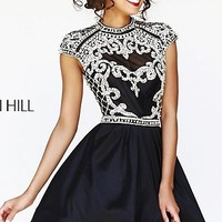 Short Beaded Cap Sleeve High Neck Cocktail Dress by Sherri Hill
