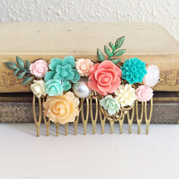 Coral Mint Green Wedding Hair Comb Peach Aqua Pink Turquoise Bridal Head Piece Woodland Floral Flower Leaves Leaf Pastel Colors Bridesmaids
