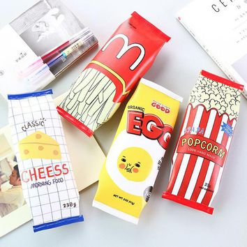 Novelty Popcorm Chips Funny Snacks PU Pencil Case Stationery Storage Organizer Bag School Office Supply