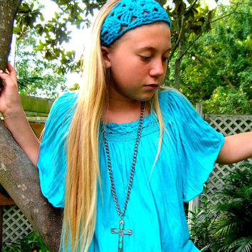 Long Chunky Cross Necklace , Bohemian Necklace