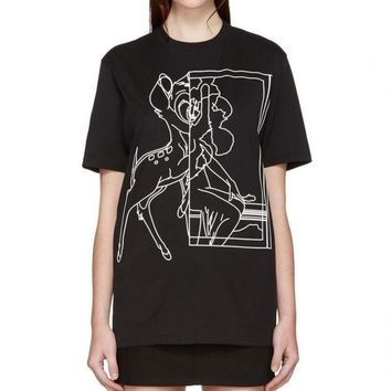 One-nice™ Givenchy Woman Men Fashion Deer Print T-Shirt Top Blouse Tee Black