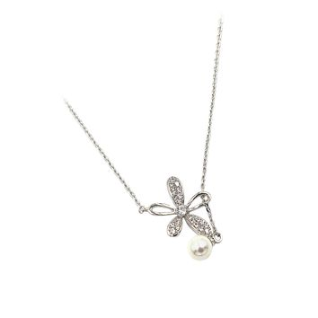 elegant crystal flower petals silver necklace