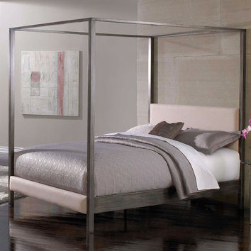 King Size Modern Metal Four Post Canopy Bed Frame with Upholstered Headboard u0026 Footboa & King Size Modern Metal Four Post Canopy from Hearts Attic