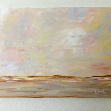 Landscape Acrylic Painting 16x20 Canvas Signed Art Summer Neutral Brown Abstract Contemporary Artwork