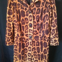 ON SALE Vintage Leopard TravelCoats By Naman 1960's Trench Style Jacket Hipster Wardrobe Accessory Animal Print Driving Car Coat