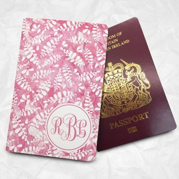 Personalised Custom Name Passport Cover Passport Holder (Leafs) with FREE Name Printing (BBS021)
