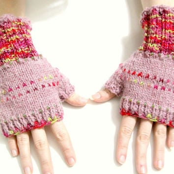 Pink and red, fingerless mittens, pink womens mittens, wool knit gloves, beaded mittens, knit wrist warmers