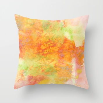 PASTEL IMAGININGS 3 Colorful Pretty Spring Summer Orange Yellow Peach Abstract Watercolor Painting Throw Pillow by EbiEmporium