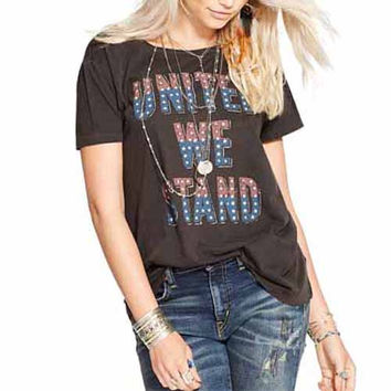 Coffee Us Flag Letter Print T-Shirt