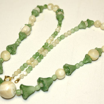 Vintage MOP Jadeite Bell Bead Necklace by patwatty on Etsy