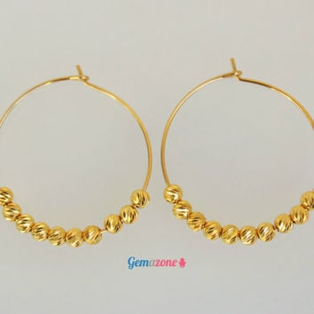 Beaded Hoop Earrings / Seed Beads Earrings /  Gypsy Earrings / Gold Filled Earrings / Yellow Gold Hoops / Tribal earrings / Minimalist Hoops