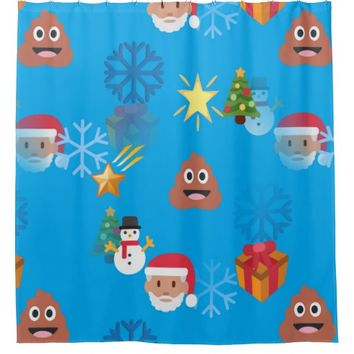 emoji poop christmas bathroom shower curtain