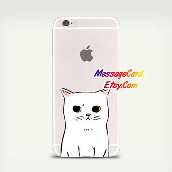 White Cat Clear Phone Case for iPhone 6 6s plus 6 6s 5s 5 4s 4 , Ctystal Clear iPhone 6 6s Case , Custom Clear iPhone 6 6s Case Transparent