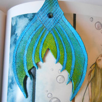 green Mermaid Tail, mermaid fantasy bookmark, mermaids, mermaid tails, mermaid bookmark, leather bookmark, mermaid accessories, mermaid gift
